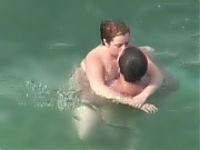 Spy nudist couple sex on seaside and in water