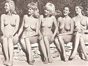 Retro naturist girls love to spend time at a clothing optional resort with their amazing tits exposed